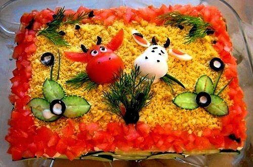 украшение салат на год быка