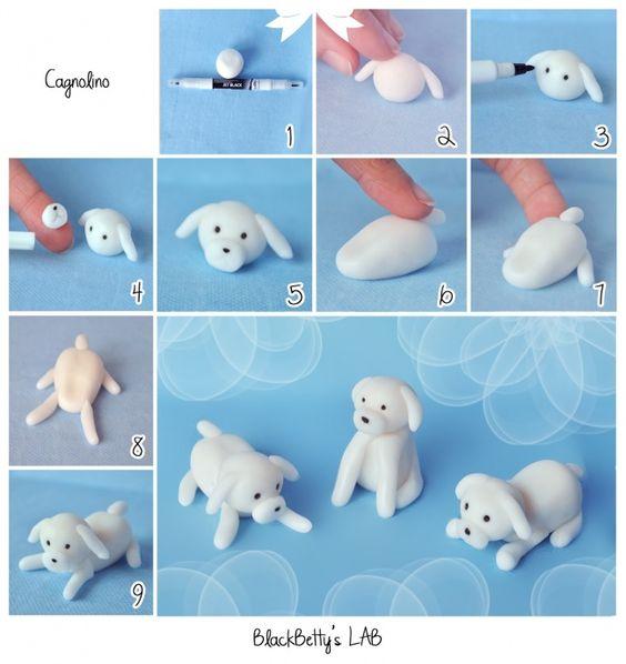 белый пес из пластилина