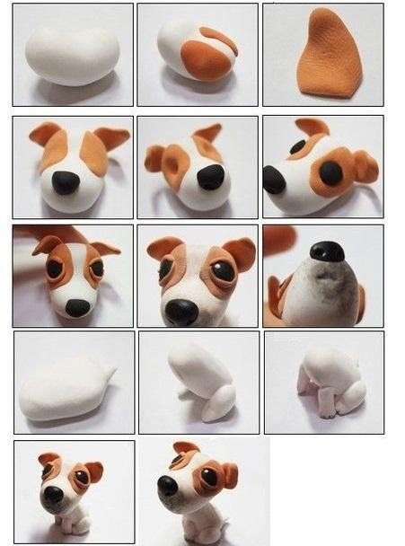 милый щенок из пластилина