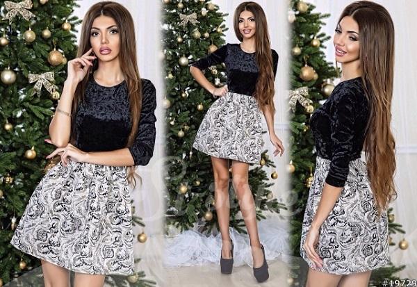 новый год платье черно белое