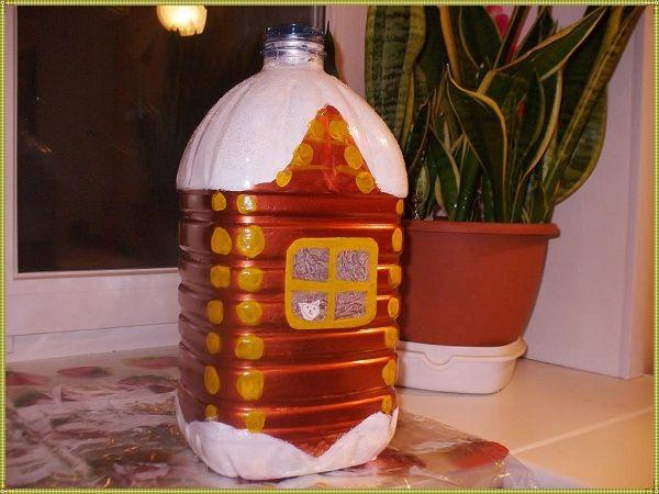 домик из бутыля на елку