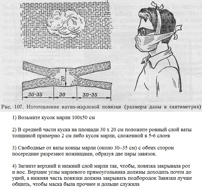 советская ватно-марлевая повязка инструкция