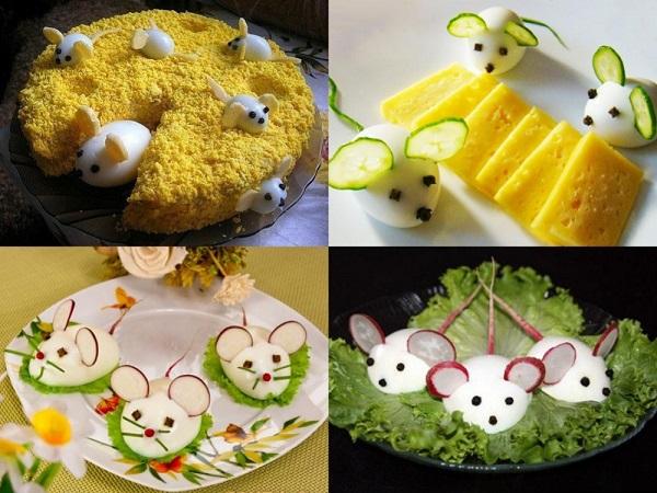 мышки из вареных яиц