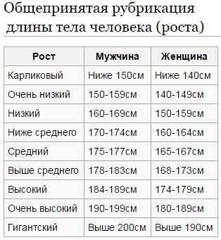 Средний рост человека