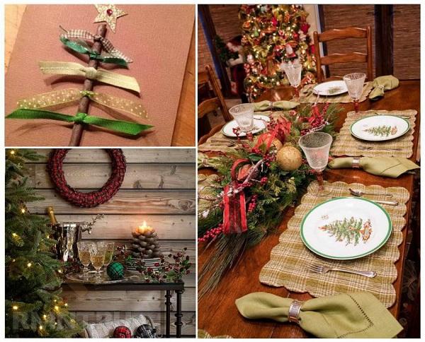 новогодний стол деревенский принт