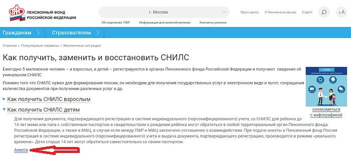 ПФР анкета Снилс