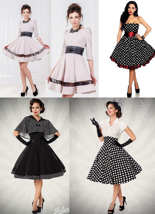 Стиль 60-х, платье с юбкой солнце