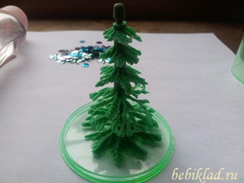 приклеить елочку для рождественсокго шара