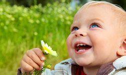 ребеенок летом на траве