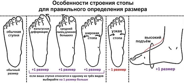 широкая и узкая стопа размер обуви