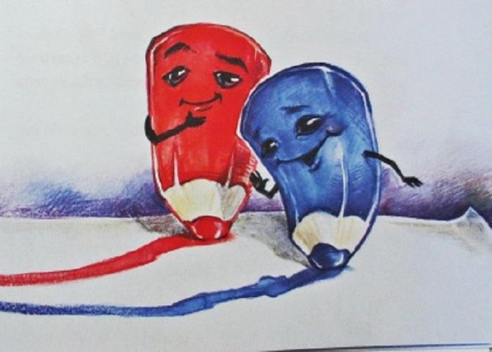 синий и красный карандаш