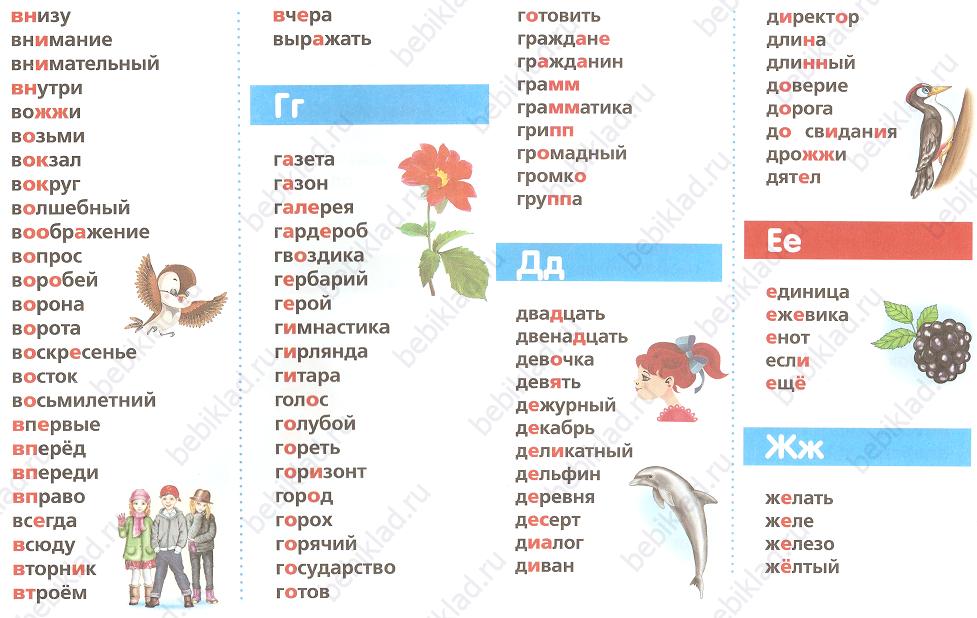 словарные слова карточка 2