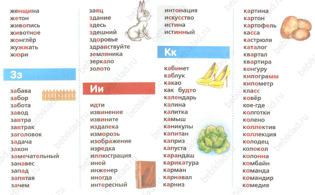 словарные слова карточка 3