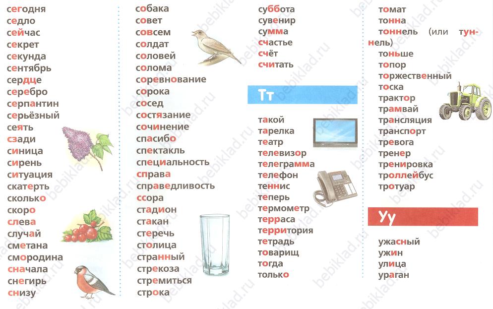 словарные слова карточка 7