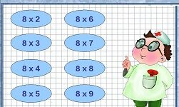 таблица умножения восемь карточка мини