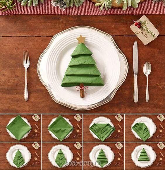 украшение новогоднего стола салфетки