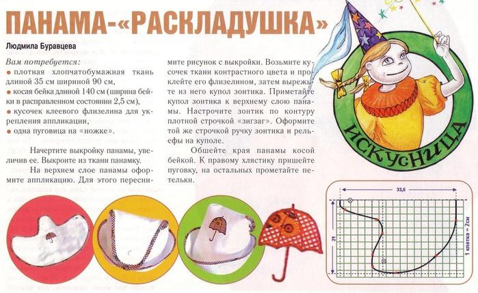 Выкройки детских панамок для девочек